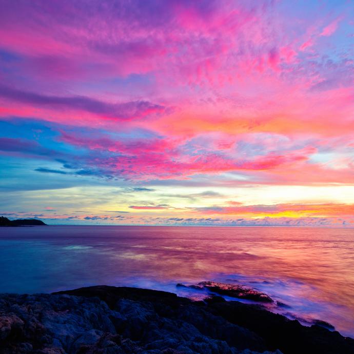 Sunset on the Andaman Sea, Cape Promthep, Phuket, Thailand